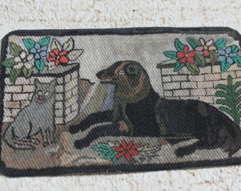 Miniature Dollhouse Vintage Look Rug With Dog and Cat in 1:12 Scale