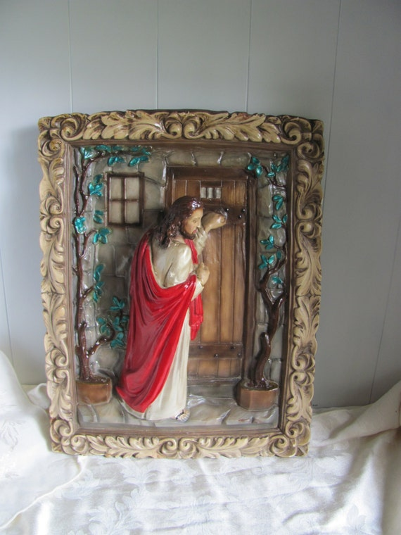 Vintage Chalkware Jesus Knocking On Door By Buckscountyfolkart