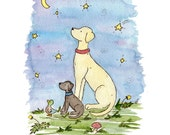 Puppy Nursery Art, Labrador Wishing Star, Nursery print, Yellow Lab Art, Black Lab Art, Nursery Wall Decor, Children's Wall Art, Baby Gift