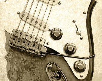Electric guitar - weathered print
