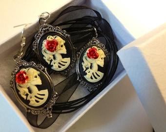 Lady skeleton cameo jewelry bundle