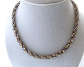 Spiral blue, gold necklace, bead woven seed beadwork jewelry