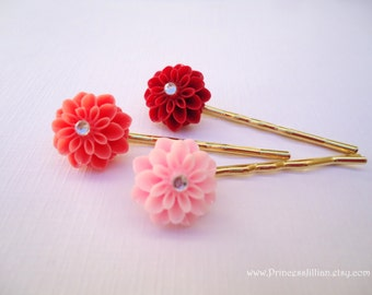 Cabochon hair pins - Red, Coral, Pink mums resin with rhinestone trio warm hue colors decorative embellish jeweled accessories TREASURY ITEM