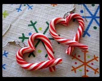 Candy Cane Heart Earrings