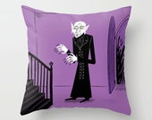 "Halloween Series - Nosferatu - Purple illustrated Cushion Cover / Throw Pillow Cover (16"" x 16"") iOTA iLLUSTRATiON"
