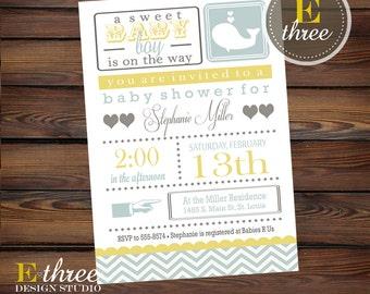 Printable Baby Shower Invitation - Printable Chevron Whale Baby Shower Invitation - Nautical Teal and Yellow Boys Baby Shower Invite