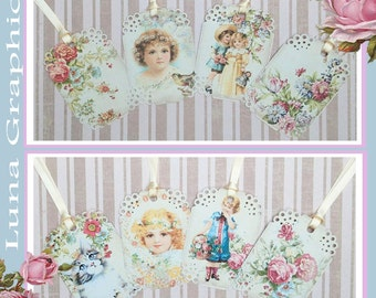 Vintage Spring Gift Tags set of 8 No.567