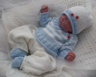 Baby Knitting Pattern Baby Boys or Reborn Dolls - Striped Sweater, Trousers, Hat & Bootees - Download Knitting Pattern