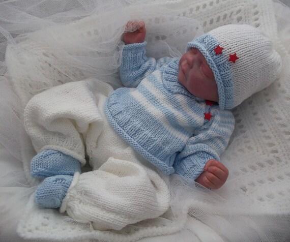 Baby Knitting Pattern Baby Boys Or Reborn Dolls Striped