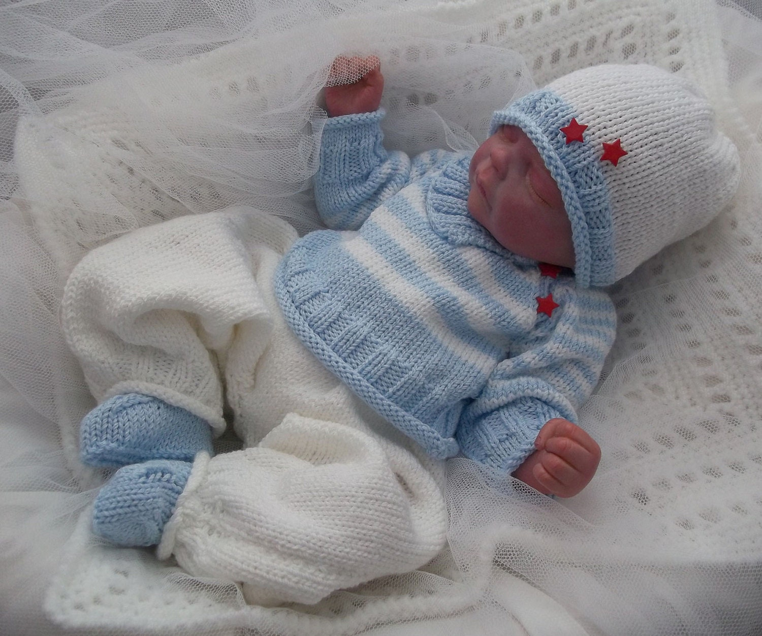 Baby Knitting Pattern Baby Boys or Reborn Dolls Striped