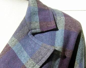 Purple Plaid Jacket Vintage Wool Boyfriend Blazer - Forty Niner Style - Medium to Large