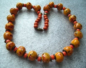 Vintage old ceramic hand painted hand made beads necklace