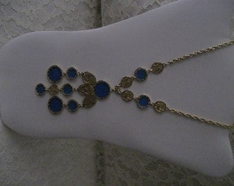 STUNNING ETHNIC NECKLACE -  Blue Drops and filagree inserts - Egyptian, Ethnic, Renaissance
