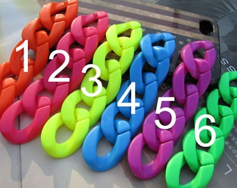 50pc chunky chain links,Plastic chain links,Curb chain links,6 color options,21x30mm