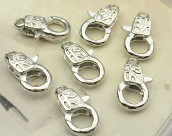 Clasp,50pcs silver plated Lobster Claw Clasps - Sturdy and shinny Clasps 8x14mm