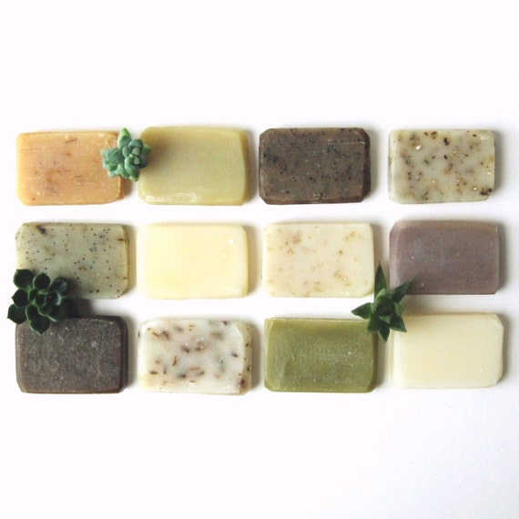 Handmade Soap Sample Pack - Some Of Each Please - 12 Vegan Soap Samples gift set made with Organic Ingredients