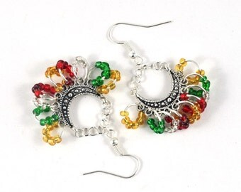Christmas Colours Dangle Beaded Earrings Red Green Gold Silver Hippie Style Pierced or Unpierced in Handmade Gift Pouch