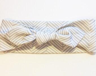 Knotted Headband - Gray Herringbone - Infant Headband - Jersey Knit Headband - Organic Headband - Organic Baby Headband - Chevron Headband