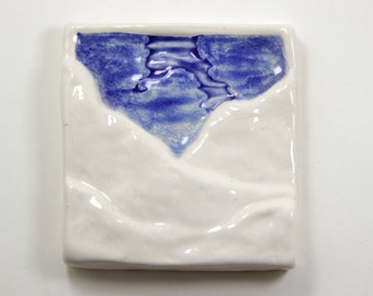 "4"" Mountain Sky Tile - Royal Blue Melted Glass Fusion Art Tile White Snowy Mountains Northern"