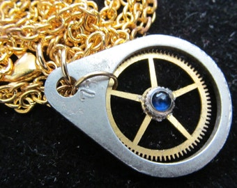 Steampunk Gear and Found Object Pendant Necklace