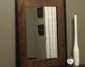Rustic Mirror Distressed Wood Barnwood Brown Frame USA