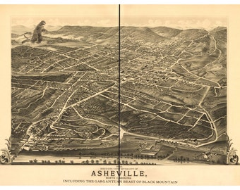 Asheville, Digital Print, Asheville NC, monster art, kaiju, Black Mountain, geekery, alternate histories, Smoky Mountains, vintage map