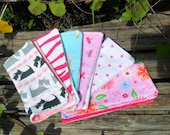 Set of 6 Reusable Cloth Baby Wipes Washcloths For Baby Girls