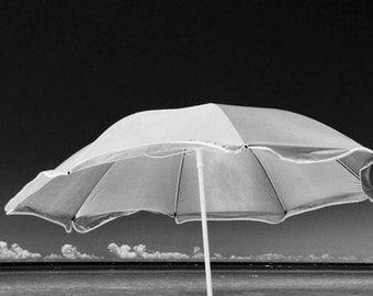 Summertime with Beach Umbrella on the Shore of Lake Michigan near Arcadia Michigan A  Black and White Fine Art Seascape Photograph