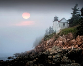 Bass Harbor Head Lighthouse in Acadia National Park on Mount Desert Island in Maine No.0653 A Lighthouse Seascape Photograph