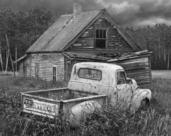Decline and Decay of a Small Forlorn Farm and Chevy Pickup Truck in either Black & White or Sepia No.3 Fine Art Photography