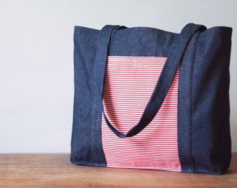 Linen tote bag. Shopping bag.Tote bag.Jeans Linen bag.Red stripes print cover pocket bag. Natural Linen Bag. Handbag. Fully lined tote. Gift