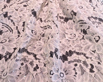 White Large Floral Repeat Beaded French Alencon Lace Fabric--One Yard