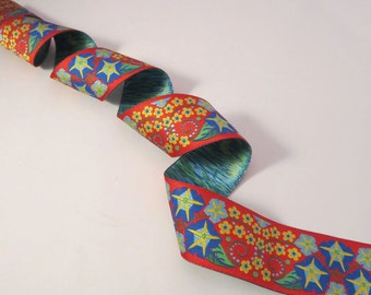 Red and Blue Morning Glory Design Polyester Jacquard Ribbon--One Yard