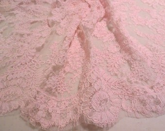 """Rosy Pink Delicate Floral Design French Alencon Lace Trim 16"""" wide--One Yard"""