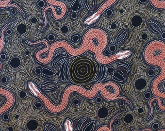 Charcoal and Rust Snakes and Emu Aboriginal Print Pure Cotton Fabric--One Yard
