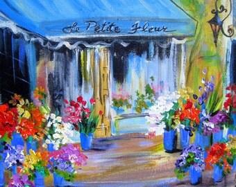 Le Petite Fleur City Paris Street Scene original landscape painting 12 x 12 Art by Elaine Cory