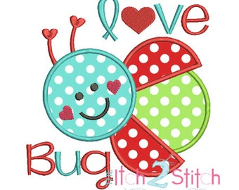 Love  Bug Ladybug Applique Design For Machine Embroidery Hoop Size(s)  4x4, 5x7 & 6x10 INSTANT DOWNLOAD now available
