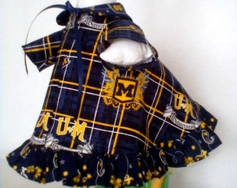 GOOSE SPORT CLOTHING --  Univ. of Michigan Wolverines Football Lawn Goose Dress - Michigan goose dress - Plastic or Cement lawn Goose