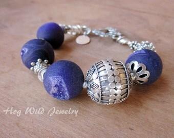 Asymmetrical Purple Agate Bali Silver Bead Bracelet