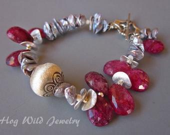Ruby Moonstone Pearl Bali Silver Bracelet