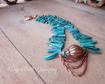 Southwest Turquoise Stick Copper Necklace, Women's Artisan Southwest Necklace, Turquoise, Women's Statement Necklace