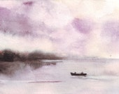 Original watercolor art lake painting boat lovers sunset mist mountains forests water reflections
