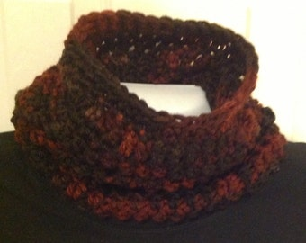 Bulky plum brown red black scarf infinity