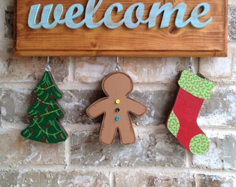 Christmas ornaments for welcome sign