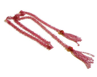 1920s Flapper Seed Beaded Tassel Lariat Necklace