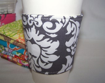 Eco-Friendly Coffee - Tea Sleeve - Java Jacket - Grey Damask