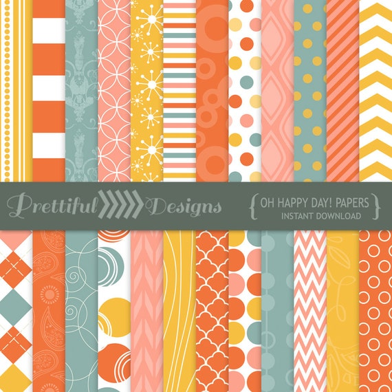 50% OFF SALE Vintage Color Digital Paper cornflower blue, orange, pink, yellow- CU Ok - Oh Happy Day (815)
