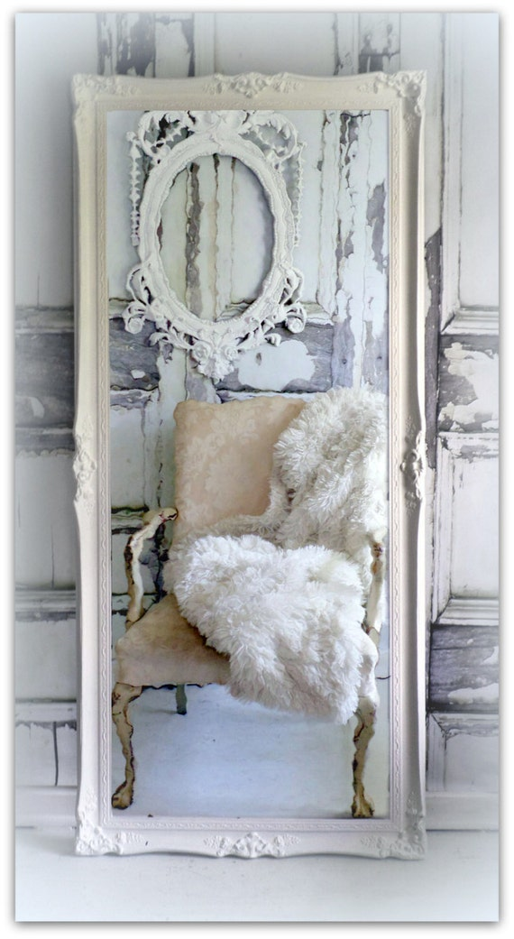 Huge Leaner Vintage Chic Full Length Mirror Hollywood Regency