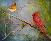 Cardinals birds wildlife animals original art oil painting Courting Cardinals