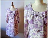 vintage 1960s pink and white BOW floral dress / 60s Pariser chic dress